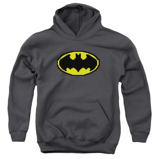 Batman/Pixel Symbol Youth Pull-Over Hoodie in Charcoal