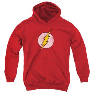 DC/Flash Logo Distressed Youth Pull-Over Hoodie in Red