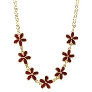 Luxiro Gold Finish Red Resin Flower Chain Necklace