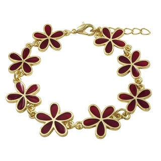 Luxiro Gold Finish Red Resin Flower Bracelet