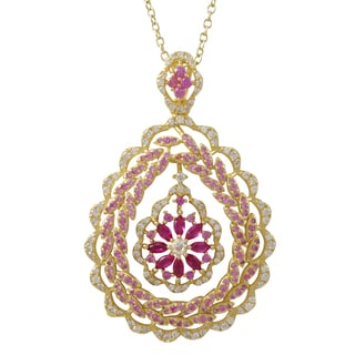 Gold Finish Sterling Silver Lab-created Ruby Teardrop Pendant Necklace