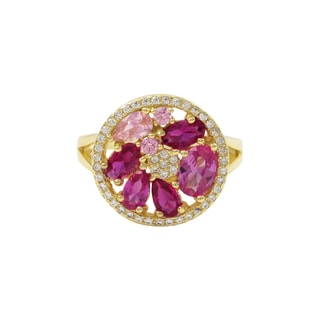 Luxiro Gold Finish Sterling Silver Lab-created Ruby Gemstone Ring