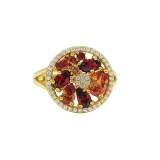 Luxiro Gold Finish Sterling Silver Red and Champagne Cubic Zirconia Ring