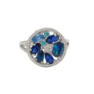 Luxiro Sterling Silver Lab-created Spinel Gemstone Ring - Blue