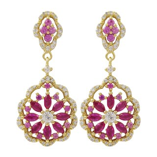 Luxiro Sterling Silver Gold Finish Lab-created Ruby Scalloped Floral Earrings - Pink