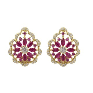Luxiro Sterling Silver Gold Finish Lab-created Ruby Scalloped Floral Earrings