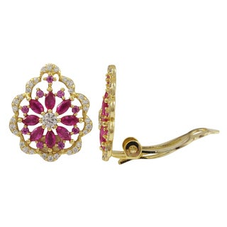 Luxiro Sterling Silver Gold Finish Lab-created Ruby Scalloped Floral Clip-on Earrings