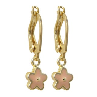 Luxiro Gold Filled Enamel Flower Children's Dangle Earrings