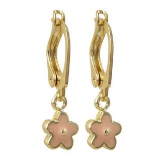 Luxiro Gold Filled Enamel Flower Children's Dangle Earrings