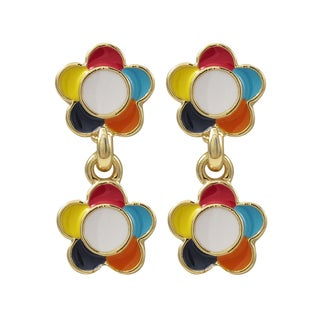 Luxiro Gold Finish Multi-color Enamel Flower Girls Dangle Earrings