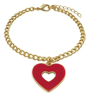 Luxiro Gold Finish Enamel Cutout Heart Charm Bracelet