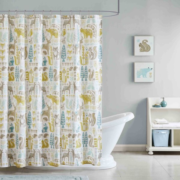 INK+IVY Kids Woodland Aqua Cotton Printed Shower Curtain