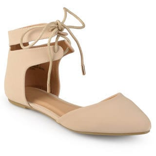 Journee Collection Women's 'Ziko' Almond Toe Ankle Strap Flats