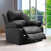 Madison Black/Brown Wood/Bonded Leather Modern Living Room Rocking Recliner Chair