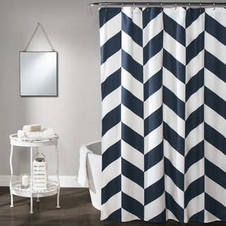 Lush Decor Navy Polyester Jigsaw Chevron Shower Curtain