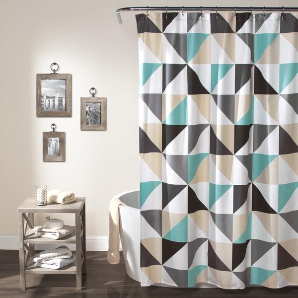 Lush Decor Abner Polyester Geo Shower Curtain