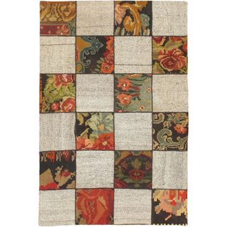 eCarpetGallery Moldovia Duo Patch Beige/Green Wool Handmade Kilim (4'10 x 7'4)