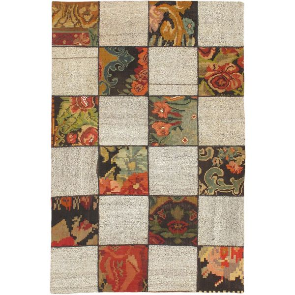 eCarpetGallery Moldovia Duo Patch Beige/Green Wool Handmade Kilim Rug - 4'10 x 7'4