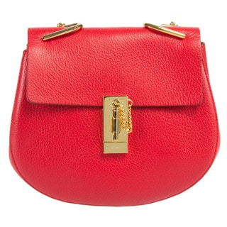 Chloe Drew Medium Red w/Gold Hardware Chain Shoulder Handbag