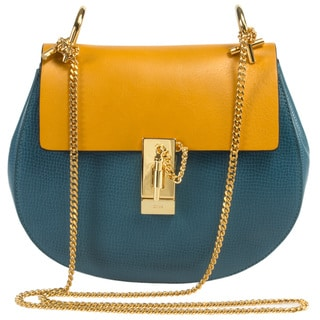 Chloe Drew Medium Blue and Gold w/Gold Hardware Chain Shoulder Handbag