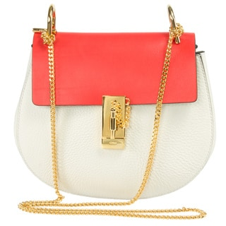 Chloe Drew Medium White and Red w/Gold Hardware Chain Shoulder Handbag