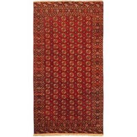 eCarpetGallery Shiravan Bokhara Hand-knotted Red Wool Rug (7'0 x 13'4)