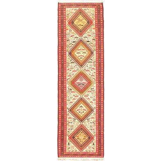 eCarpetGallery Azari Sumak Beige/Blue Wool and Silk Blend Hand-knotted Runner (2'9 x 9'6)