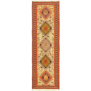 eCarpetGallery Azari Beige/Brown 97-percent Wool, 3-percent Silk Hand-Knotted Sumak (2'8 x 9'4)