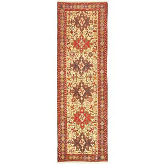 eCarpetGallery Azari Beige/Blue Hand-knotted Wool and Silk Sumak Rug (2'10 x 9'1)