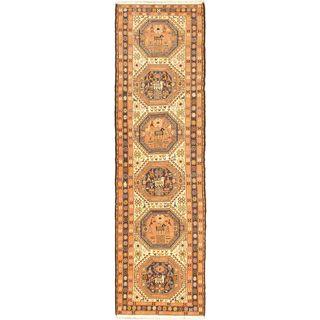 eCarpetGallery Azari Hand-knotted Beige/Blue Wool and Silk Sumak Blend (2'7 x 9'3)