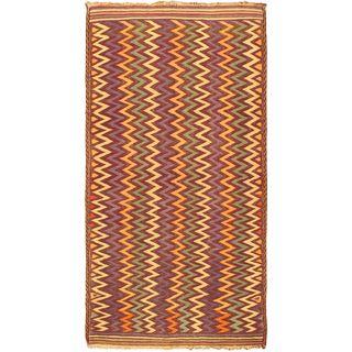 eCarpetGallery Afghan Shiravan Hand-knotted Brown Wool Kilim (5'6 x 10'7)