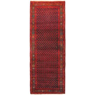eCarpetGallery Persian Vogue Hand-knotted Blue/Red Wool Rug (3'8 x 10'0)