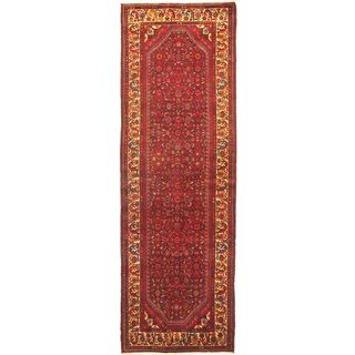 eCarpetGallery Persian Vogue Hand-knotted Beige/Red Wool Rug (3'7 x 11'1)