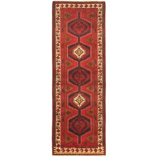 eCarpetGallery Persian Vogue Blue/Red/White Wool Hand-knotted Rug (3' 6 x 10' 3)
