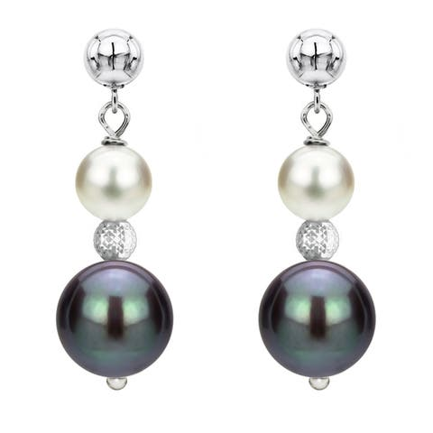 DaVonna Sterling Silver 6-6.5mm and 9-10mm White & Black Multi Color Freshwater High Luster Pearl Dangle Stud Earring
