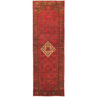eCarpetGallery Hand-Knotted Persian Vogue Brown/Red Wool Rug (3'5 x 10'7)