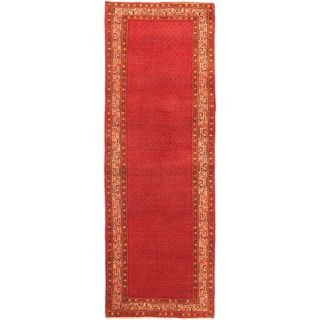 eCarpetGallery Persian Vogue Beige/Red Wool Hand-knotted Rug (3'7 x 10'5)