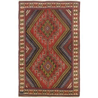 eCarpetGallery Persian Vogue Hand-knotted Beige/Red Wool Rug (3'9 x 5'8)