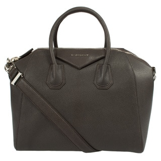 Givenchy Medium Antigona Sugar Goatskin Matte Brown Satchel Bag with Silver Hardware and Shoulder Strap