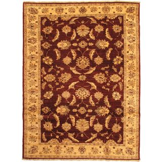 eCarpetGallery Chobi Hand-knotted Beige/Red Wool Rug (5'8 x 7'9)