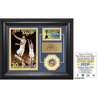 "Stephen Curry ""Back to Back MVP"" Bronze Coin Desktop Photo Mint"