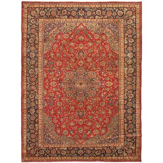 eCarpetGallery Isfahan Hand-knotted Red Wool Rug (9'10 x 13'2)