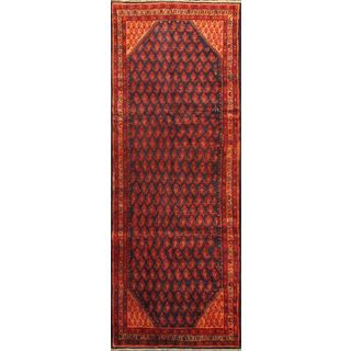 eCarpetGallery Hand-Knotted Arak Blue/Red Wool Rug (3'8 x 10'0)