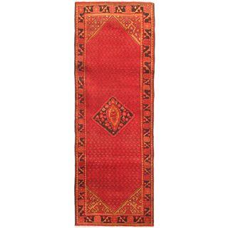 eCarpetGallery Persian Vogue Hand-knotted Black/Red Wool Rug (3'4 x 9'6)