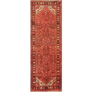 eCarpetGallery Black/Red/Cream/Khaki/Aqua Wool and Cotton Hand-knotted Hosseinabad Rug (3'4 x 13'1)