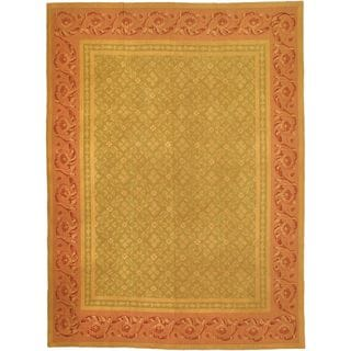 eCarpetGallery Brown/Green Wool Suzani Hand-made Sumak Rug (8'8 x 11'8)