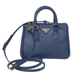 Prada Galleria Light Blue Mini Saffiano Leather Crossbody Handbag