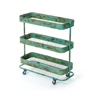 Hip Vintage Distressed Green Iron Lab Cart