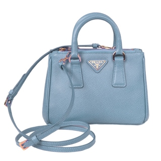 Prada Galleria Pale Blue Mini Saffiano Leather Crossbody Handbag