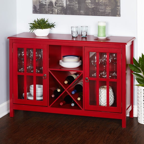 Simple Living Portland Red Wood Glass Wine Buffet Free